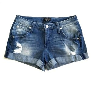 Bebe Distressed Rolled Hem Denim Jean Shorts
